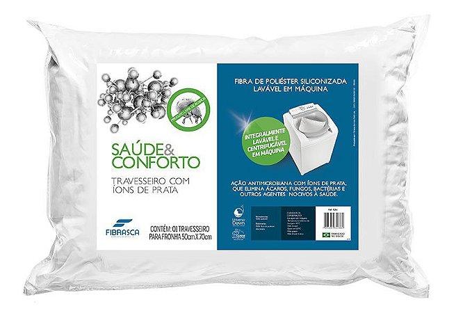 Travesseiro Saúde & Conforto - Com Ions de Prata - Fibra - 50CMX70CM - Fibrasca