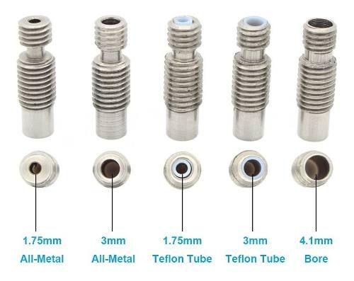 Bocal Nozzles Throat Impressora 3d V6 Aço Inox Teflon 1.75mm