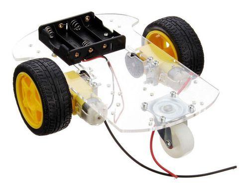 Kit Chassi Transparente Carro Robô 2wd P/ Arduino