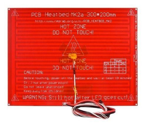 Mesa Aquecida Mk2 200x200 Impressora 3d Vermelha C/ Fiação
