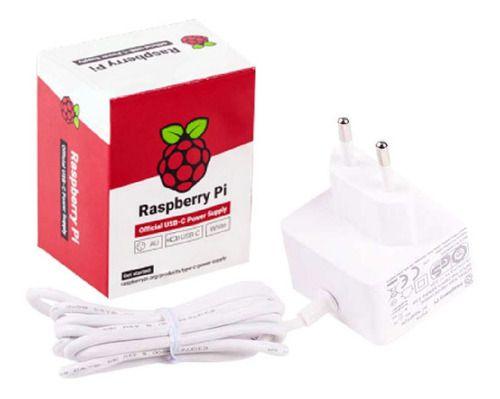 Fonte Usb Tipo C Raspberry Pi 4 Oficial Cor Branca Pi4