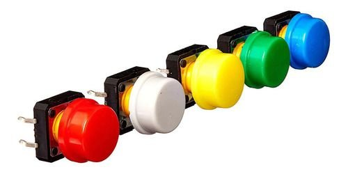 5 Pçs Botão Interruptor 12x12x7.3mm Push Button C/ Capa