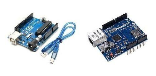 Kit Placa Uno R3 Chip + Rede W5100 + Cabo Usb Compatível