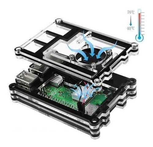 Case 9 Camadas C/ Cooler Raspberry Pi 3 B+ Plus, Dissip