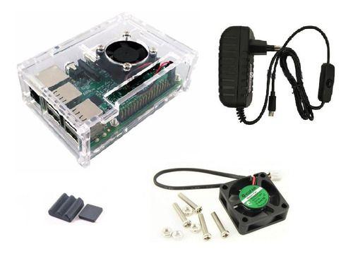 Case Raspberry Pi 3 Cor Trans + Cooler + Fonte C/ Botão, Dis