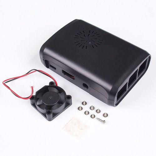 Case Raspberry Pi 3 Cor Preta + Cooler + Dissipador