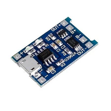 Carregador De Bateria Litio Tp4056 Micro Usb 1a c/ Proteção