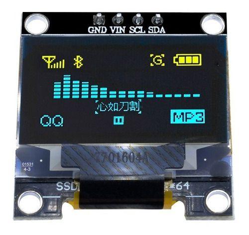 Display Oled Serial 0.96 128x64 I2c Azul Amarelo Arduino