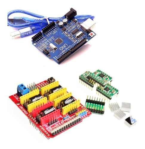 Kit Shield Cnc V3 + Placa Uno Smd + 4 Drivers A4988 Arduino