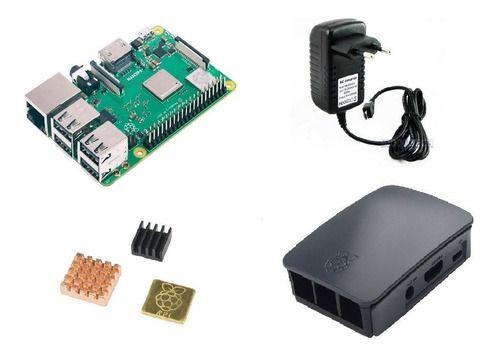 Raspberry Pi 3 B+ Plus C/ Fonte, Case Oficial Preta, Dissip