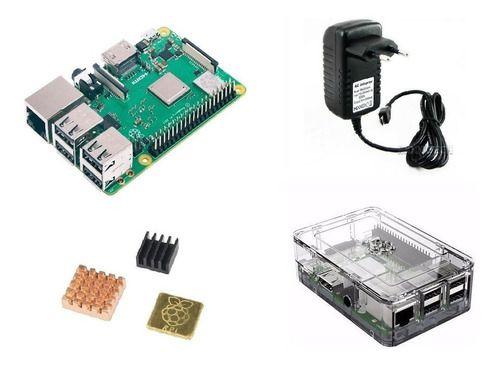 Raspberry Pi 3 B+ Plus 1.4, Fonte, Case Premium Transp, Diss