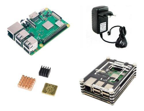 Raspberry Pi 3 B+ Plus C/ Fonte, Case 9 Camadas, Cooler, Dis