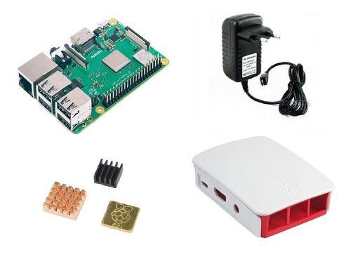Raspberry Pi 3 B+ Plus 1.4 C/ Fonte, Case Oficial Branca