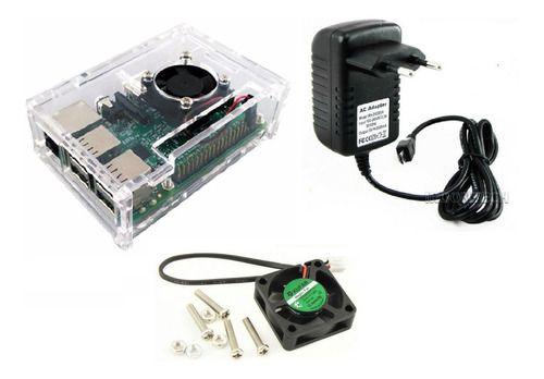 Case Raspberry Pi 3 Cor Transparente + Cooler + Fonte + Diss
