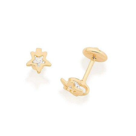 Brinco infantil solitário folheado a ouro com cristais em estrela 0006