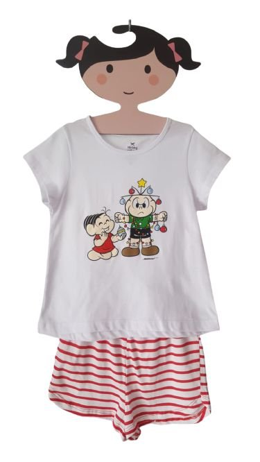 Pijama Feminino Mônica e Cebolinha
