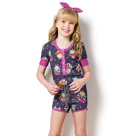 Pijama Macacão curto Rosa