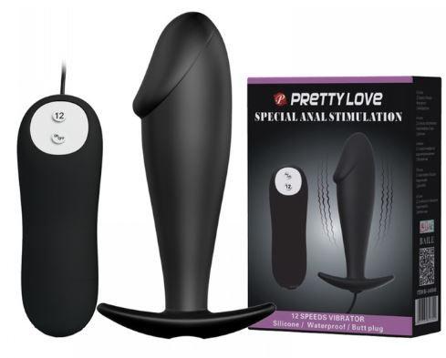 Plug Anal com Ponta Formato de Glande com 12 Vibrações - Pretty love | Cor: Preto