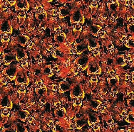 Caveira em chamas - Tamanho 1M X 50CM
