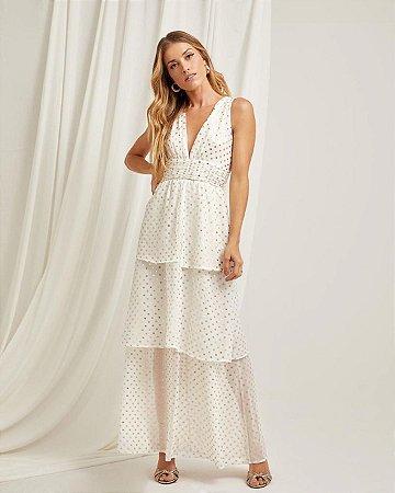Vestido Poá Longo Foil Branco Esmeral