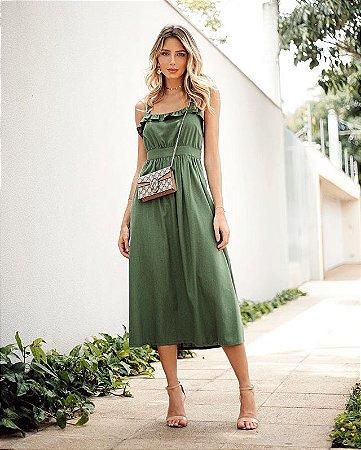 Vestido Midi Linho Esmeral