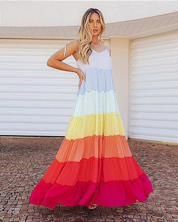 Vestido Crepe Rainbow Helena Ave Rara