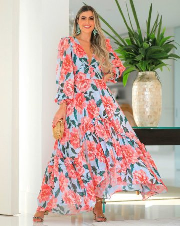 Vestido Crepe Flower Bank Ave Rara