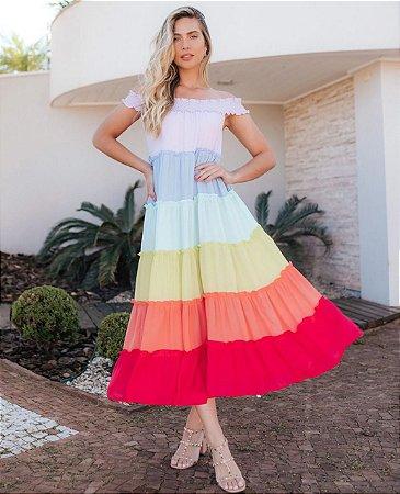Vestido Midi Ombro a Ombro Mia Rainbow Ave Rara
