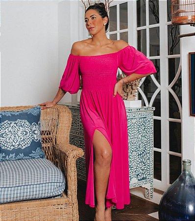 Vestido Iris Midi Elastex com Fenda Blessed