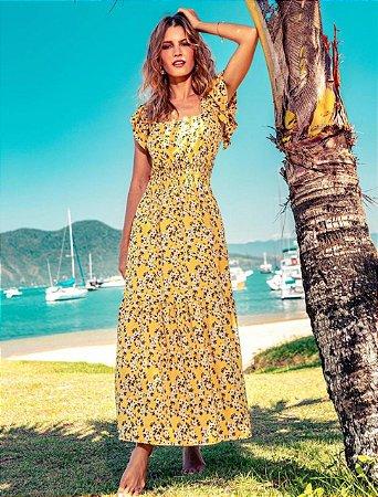 Vestido Longo Floral Estampado Amarelo