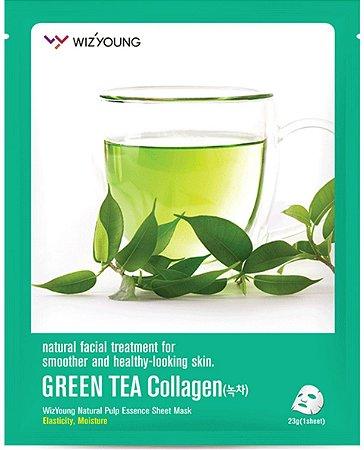 Máscara Facial Hidratante Wizyoung Green Tea Collagen Essence Mask Pack - SISI