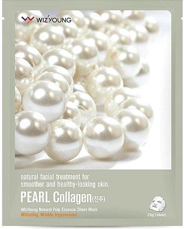 Máscara Facial Clareadora Wizyoung Pearl Collagen Essence Mask Pack - SISI