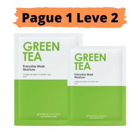 PAGUE 1 LEVE 2 Máscara facial hidratante - Boom de ah dah green tea