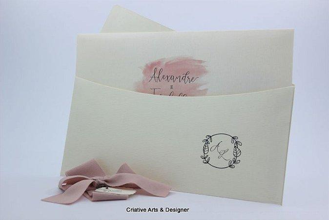 Pacote de 10 Convites de Casamento Modelo Clássico Ilha Attu
