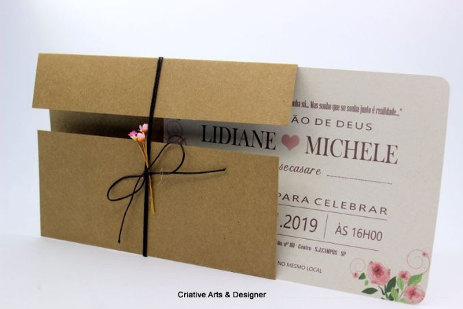 Pacote de 10 Convites de casamento rústico Modelo Ilha do Eixo