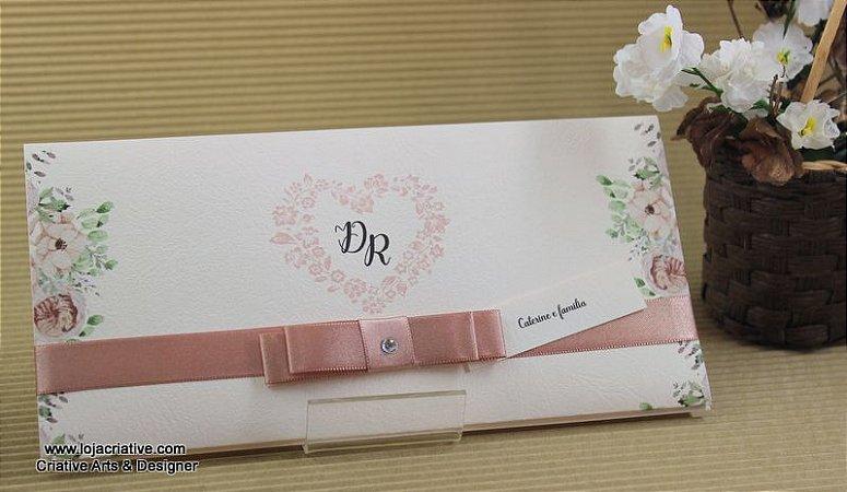Pacote de 10 Convites modelo DR na cor rosê e fita na cor rosa chá