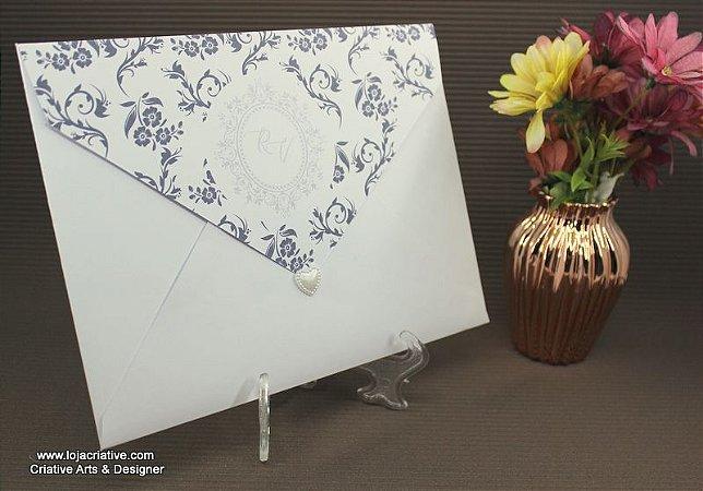 Convite modelo clássico com envelope 22,5 X 16,5 cor branco liso