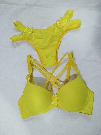 Conjunto Amarelo com Tiras Basico Mariana Strapp