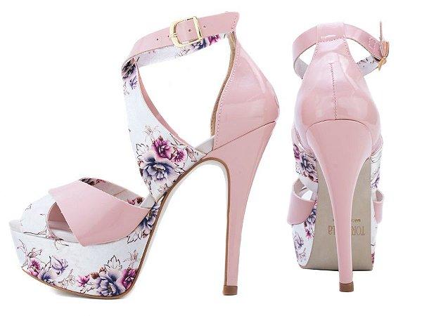 Sandália Meia Pata  Verniz Rosa e Tecido Floral Colorido
