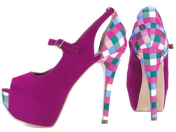 Sapato Peep Toe   Camurça Pink e Tecido Xadrez Colorido