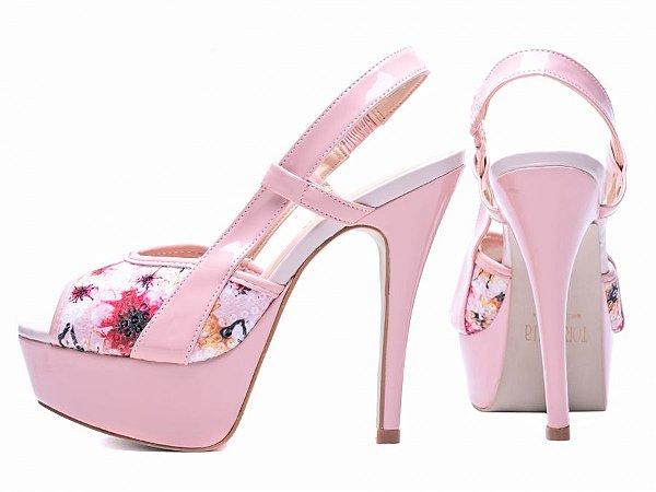 Sandália Meia Pata  Verniz Rosa e Paetê Floral