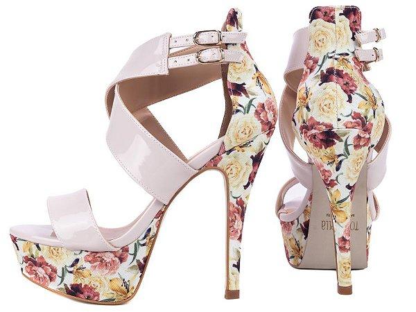Sandália Meia Pata Rosê e Floral