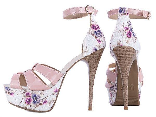Sandália Meia Pata  Verniz Rosa  Tecido Floral