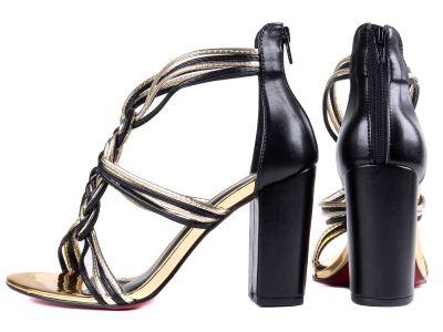 Sandália Feminina Revestida em Metalizado Ouro