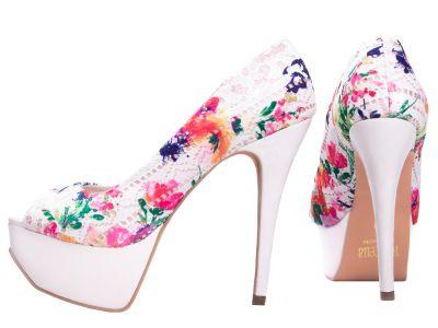 Sapato Meia Pata Tecido Colorido Off White