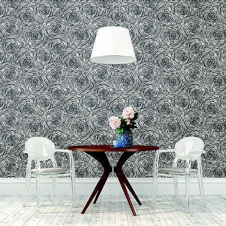 Papel De Parede Twist 10x0.52m Floral Preto