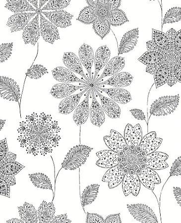 Papel De Parede Twist 10x0.52m Floral-Henna Preto