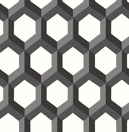 Papel De Parede Twist 10x0.52m Geometrico-3d Preto