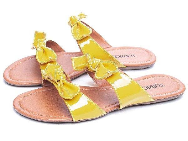 Sandália Rasteira Verniz  Amarelo