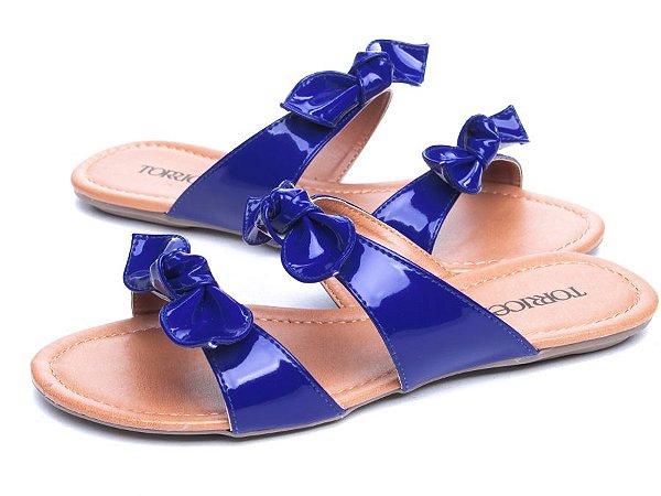 Sandália Rasteira Verniz  Azul  Marinho